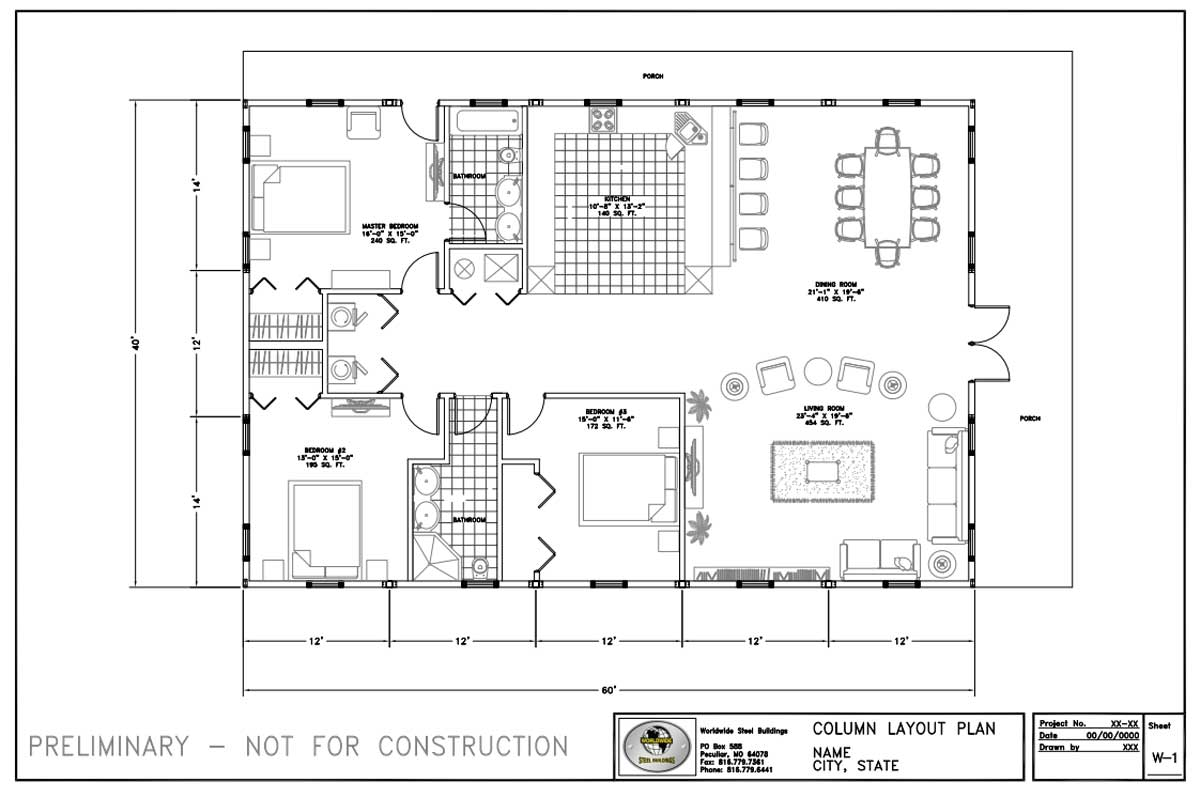Residential metal home floor plans for a 40' x 60' metal home from Worldwide Steel Buildings.