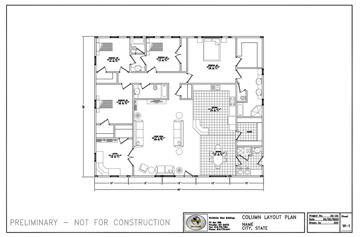Worldwide Steel Buildings can help you plan your 50' x 60' residential metal home package.