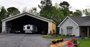 Custom RV storage garage made from steel building kit from Worldwide Steel Buildings.