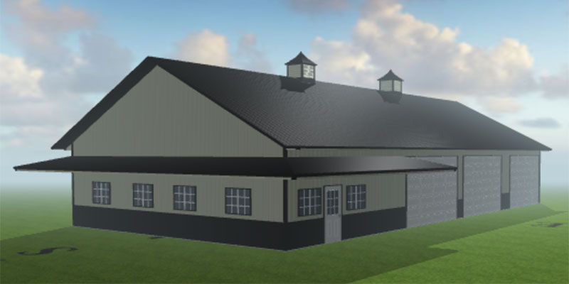 3D Building Example of the Overbrook Steel Shop by Worldwide Steel Buildings