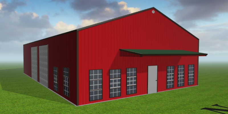 Caskey Trucking created this rendering of their custom building kit with the Worldwide Steel Buildings 3D designer.